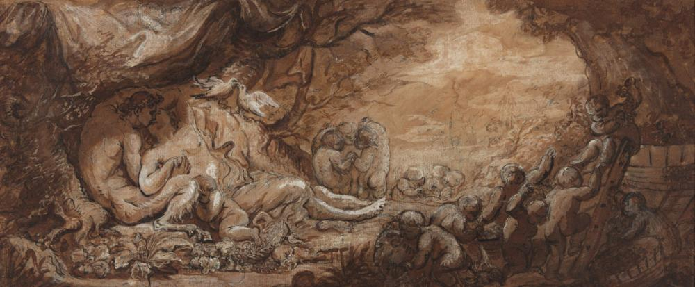 JACQUES-PHILLIPE CARESME (Paris 1734-1796 Paris) A Satyr and a Nymph Embracing under a Tree with a Bacchanal of Putti.