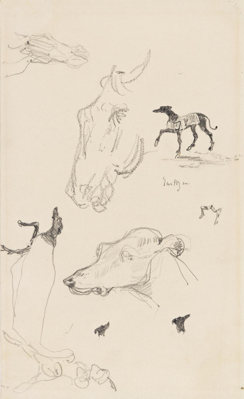 HENRI TOULOUSE-LAUTREC (Albi 1864-1901 Saint-André-du-Bois) Feuille d'études avec Chevaux et Chiens Lévriers.