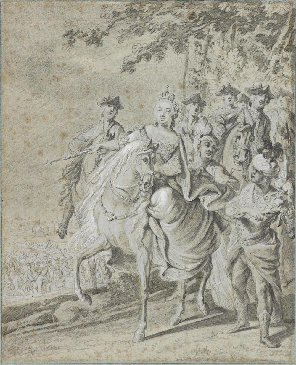 JOHANN ELIAS RIDINGER (Ulm 1698-1767 Augsburg) Group of 4 portraits of aristocrats on horseback.