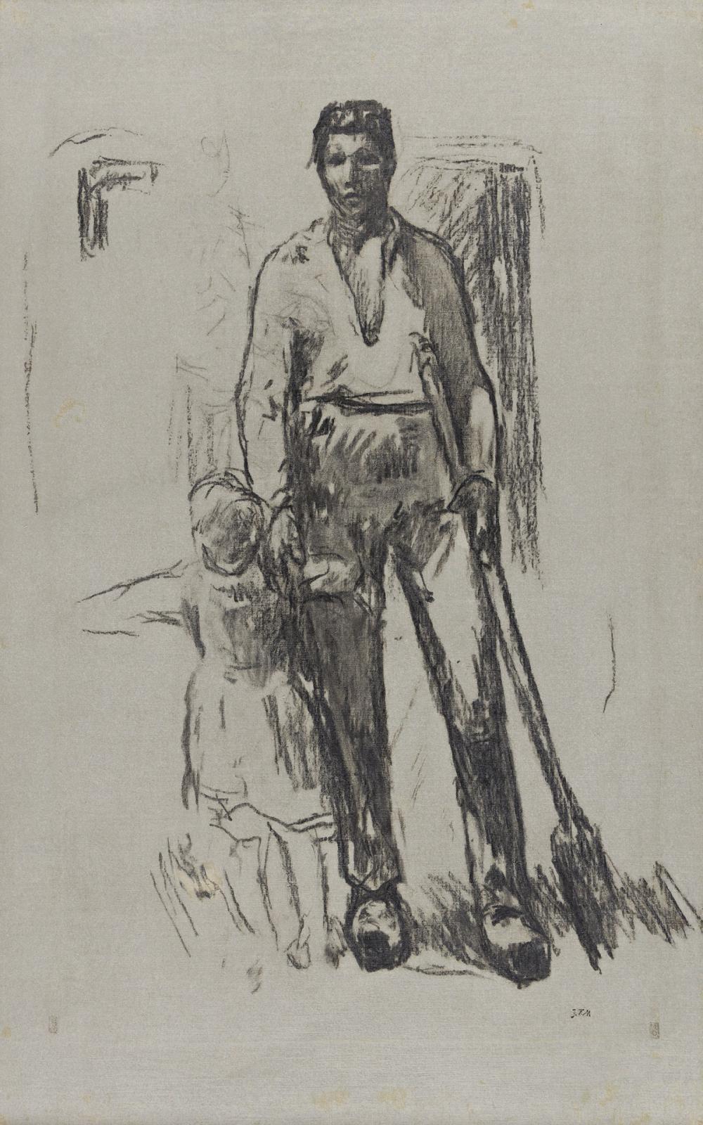 JEAN-FRANÇOIS MILLET (Gréville-Hague, La Hague 1814-1875 Barbizon) Paysan debout et Enfant.