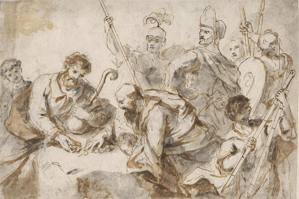 MARCO MARCOLA (Verona 1740-1793 Verona) Men Exchanging Money at a Table, Viewed by Soldiers.