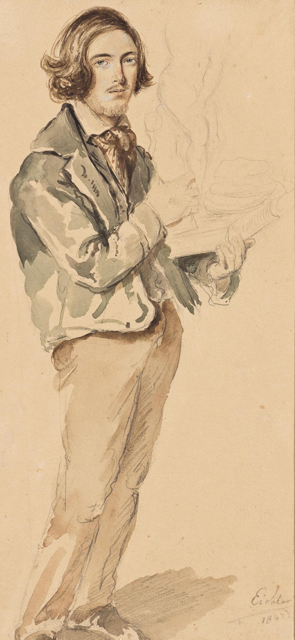 HERMANN EICHLER (Vienna 1842-1901 Vienna) Full-Length Portrait of an Artist Holding a Sculpture.