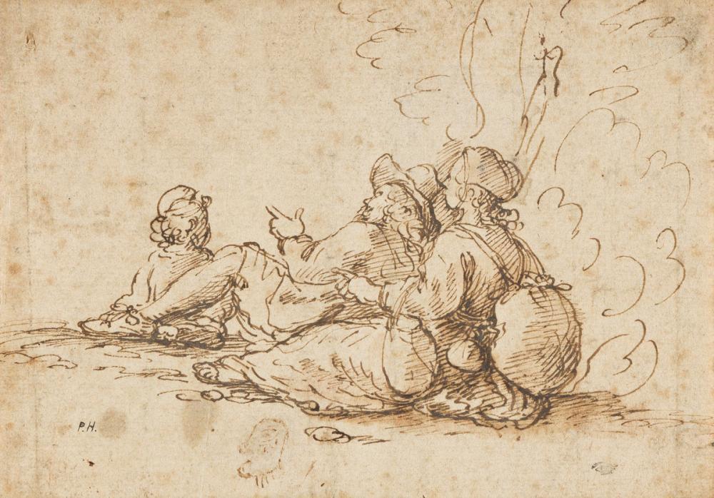 GIOVANNI FRANCESCO GRIMALDI (Bologna 1606-1680 Rome) Three Travellers at Rest.
