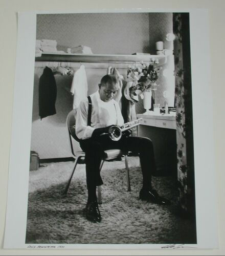ADAMS, EDDIE Louis Armstrong. Silver print, 1970; printed later. 495x324 mm; 19 1/2x12 3/4 inches. Signed, titled and dated, in ink, on recto. Estimate