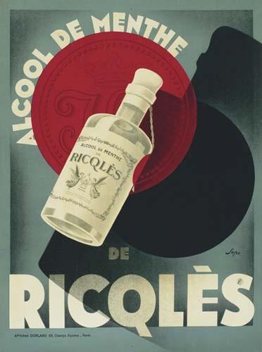 SEPO (SEVERO POZZATI 1895-1983) ALCOOL DE MENTHE RICQLES. 1929.