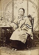 (CHINA) Group of 5 photographs of Chinese subjects, including a young courtesan whose tiny bound feet are visible,