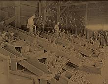 BRETZ, GEORGE M. (1842-1895) Laborers in the dingy coal mines of Pottsville, Pennsylvania,