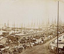 HALL, GEORGE P. & SON View of South Street, lower Manhattan, with clipper ships, ferry terminals and