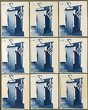 (TYPOLOGICAL COLLAGE) Suite of 9 identical close-ups of an unidentified machine.