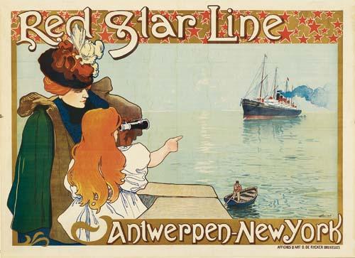 HENRI CASSIERS (1858-1944) RED STAR LINE / ANTWERPEN - NEW YORK. 1898.