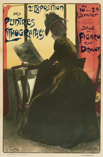 FERDINAND LOUIS GOTTLOB (1873-1935) 2E EXPOSITION DE PEINTRES LITHOGRAPHES. 1898.