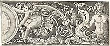 AGOSTINO VENEZIANO Ornamental Frieze with Eros and a Siren.