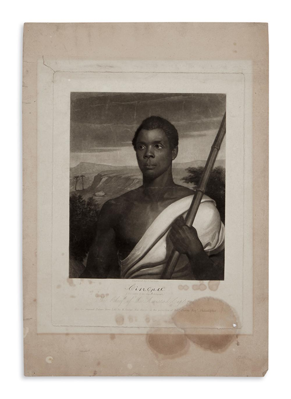 (SLAVERY AND ABOLITION.) Sartain, John, engraver. Cinque, the Chief of the Amistad Captives.