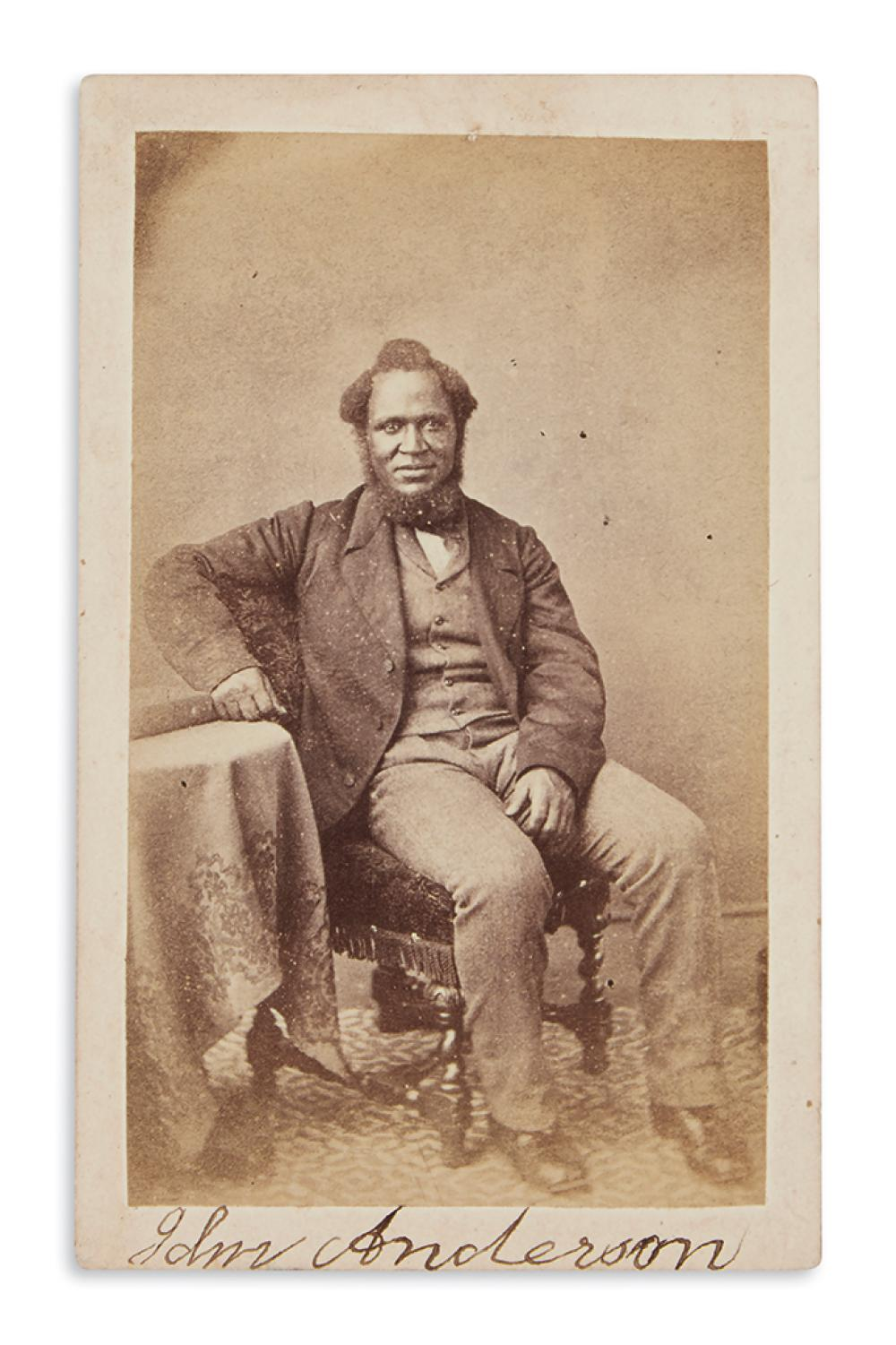(SLAVERY AND ABOLITION.) Signed carte-de-visite portrait of escaped slave and accused murderer John Anderson.