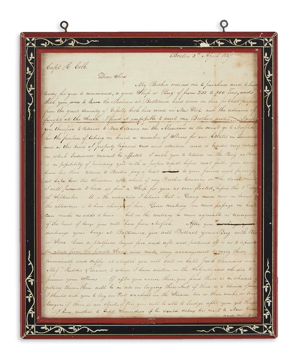 (SLAVERY AND ABOLITION.) Shepherd, Rezin D. Letter ordering a ship captain to procure slaves in Virginia and bring them to New Orleans.