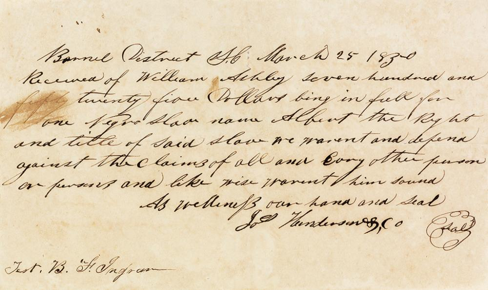 (SLAVERY AND ABOLITION.) Pair of receipts for slaves purchased by William Ashley in South Carolina.