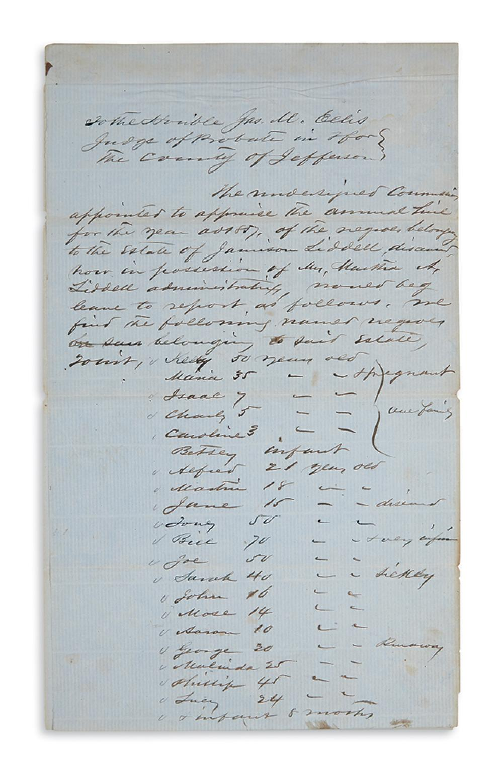 (SLAVERY AND ABOLITION.) Estate appraisal of 26 slaves in Mississippi.