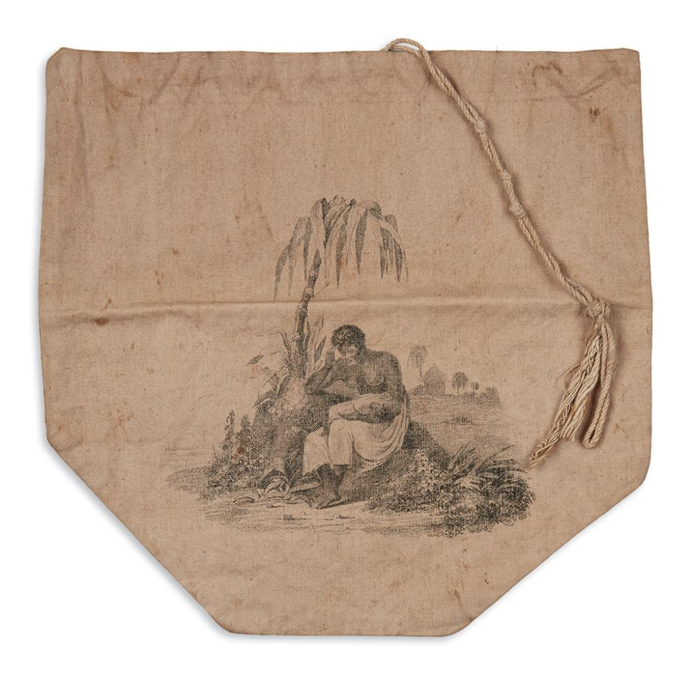 (SLAVERY AND ABOLITION.) Linen abolitionist handbag in support of the