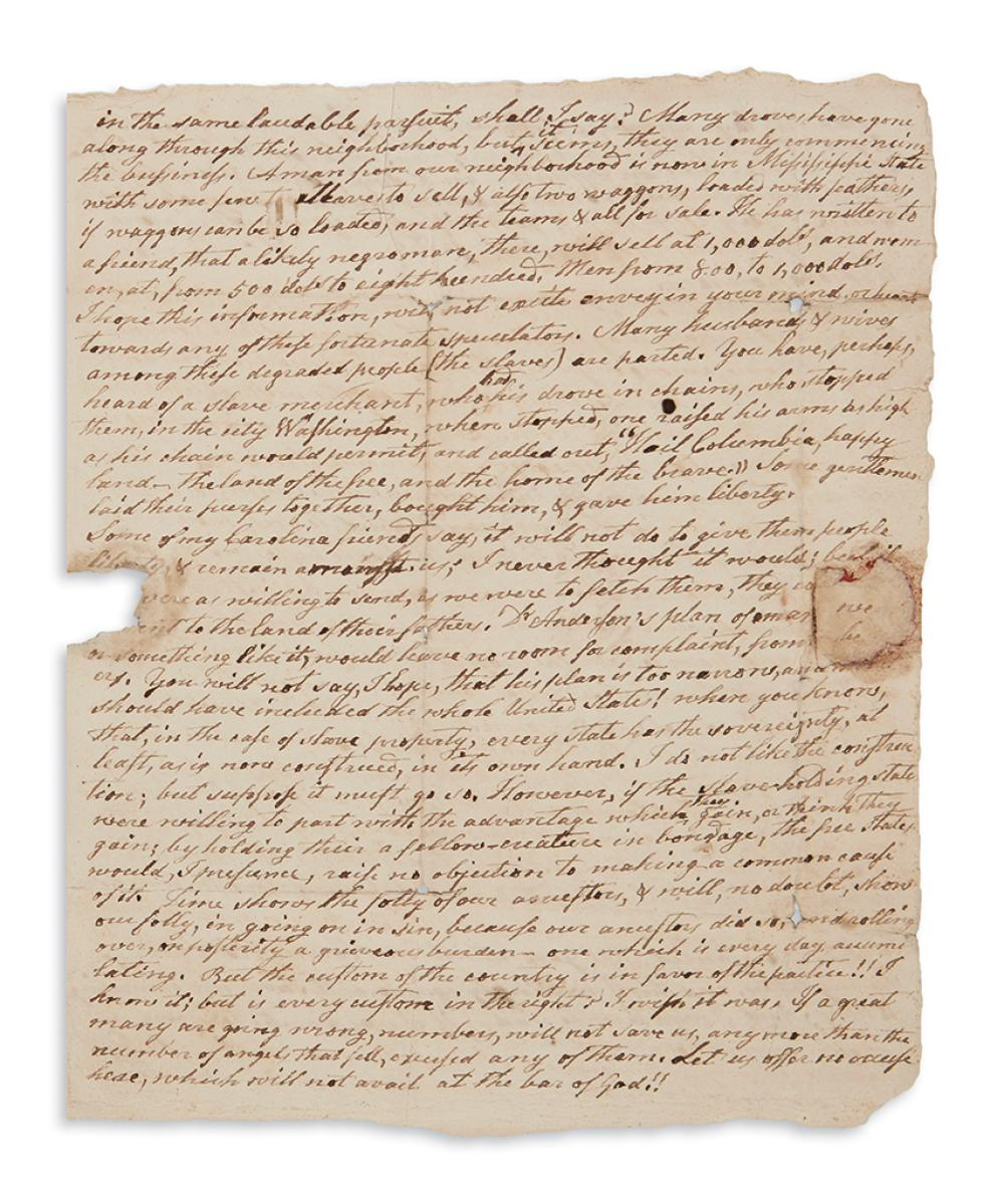 (SLAVERY AND ABOLITION.) Houston, Christopher. A white Tennessee farmer reflects on the evils of slavery.