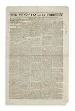 (SLAVERY AND ABOLITION.) Group of 7 issues of the Pennsylvania Freeman, an anti-slavery newspaper.