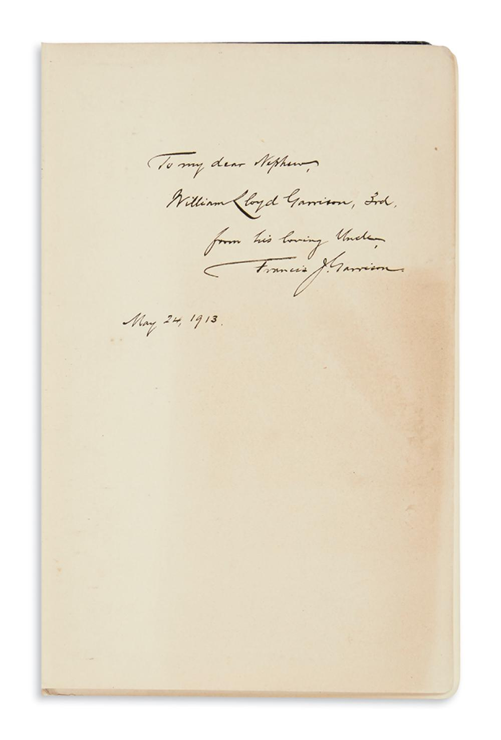 (SLAVERY AND ABOLITION.) Collection of books relating to William Lloyd Garrison, with Garrison family provenance.