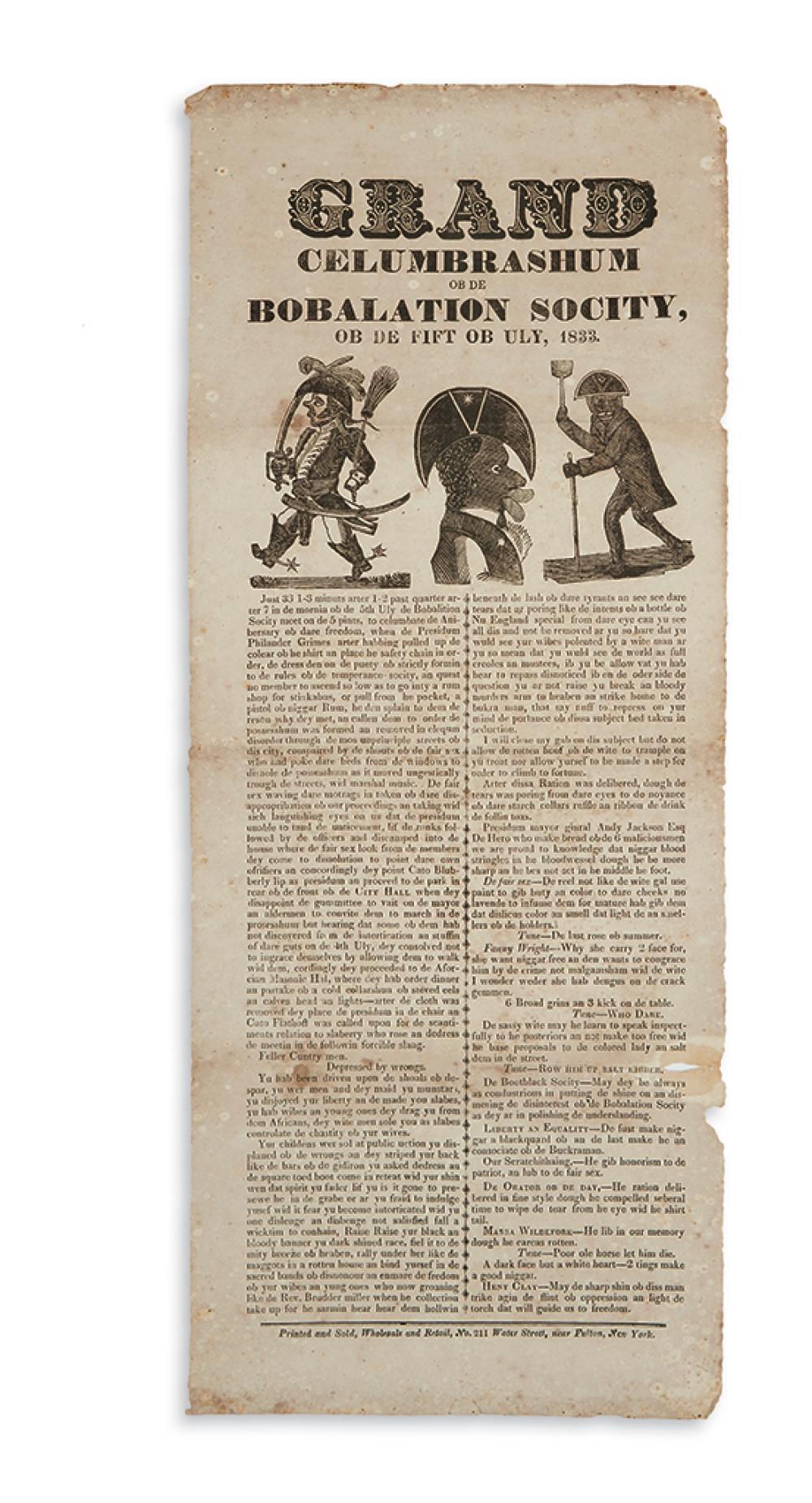 (SLAVERY AND ABOLITION.) Grand Celumbrashum ob de Bobalation Socity ob de Fift of Uly, 1833.