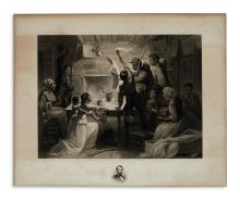 (SLAVERY AND ABOLITION.) Watts, James W., engraver; after Herrick. Reading the Emancipation Proclamation.