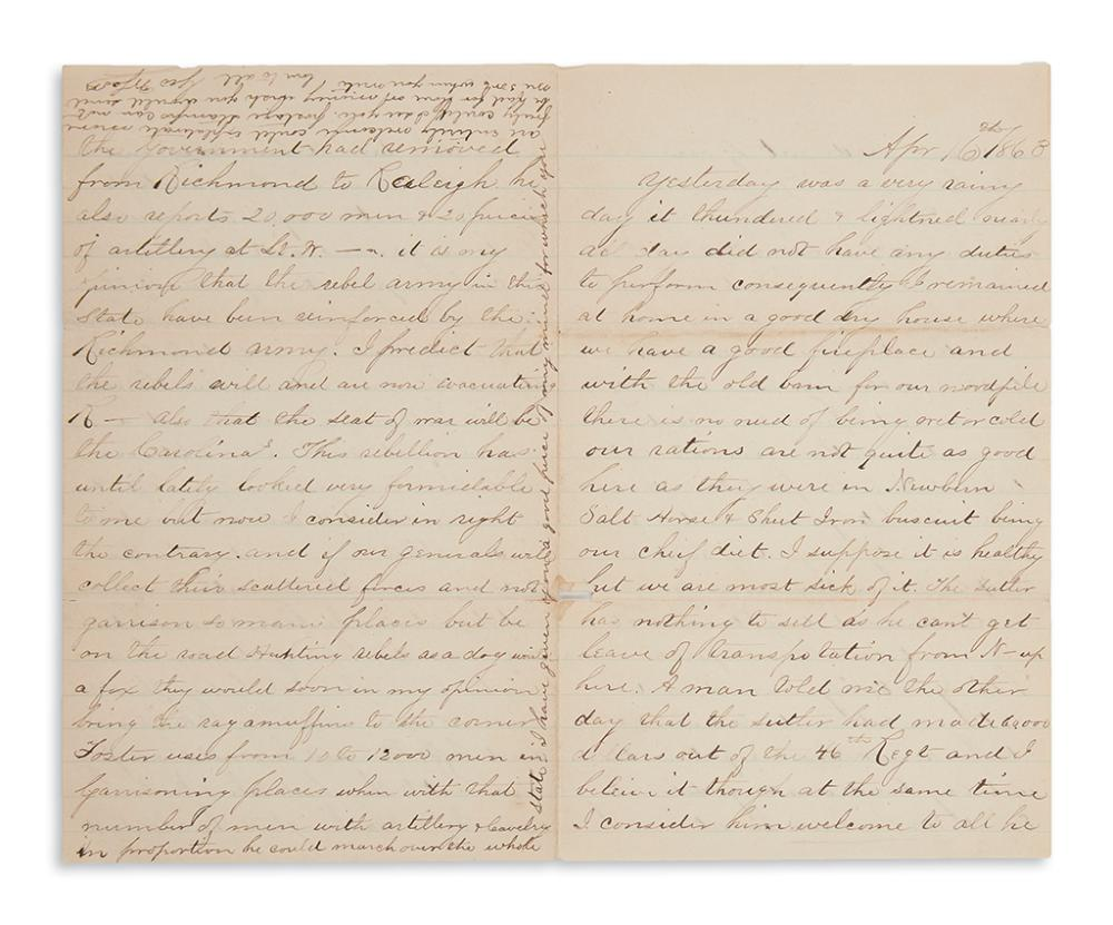 (SLAVERY AND ABOLITION.) Scott, George W. Pair of letters describing escaped slaves in North Carolina.