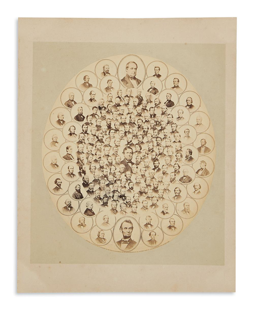 (SLAVERY AND ABOLITION.) Composite photograph of the signers of the 13th Amendment, which banned slavery.