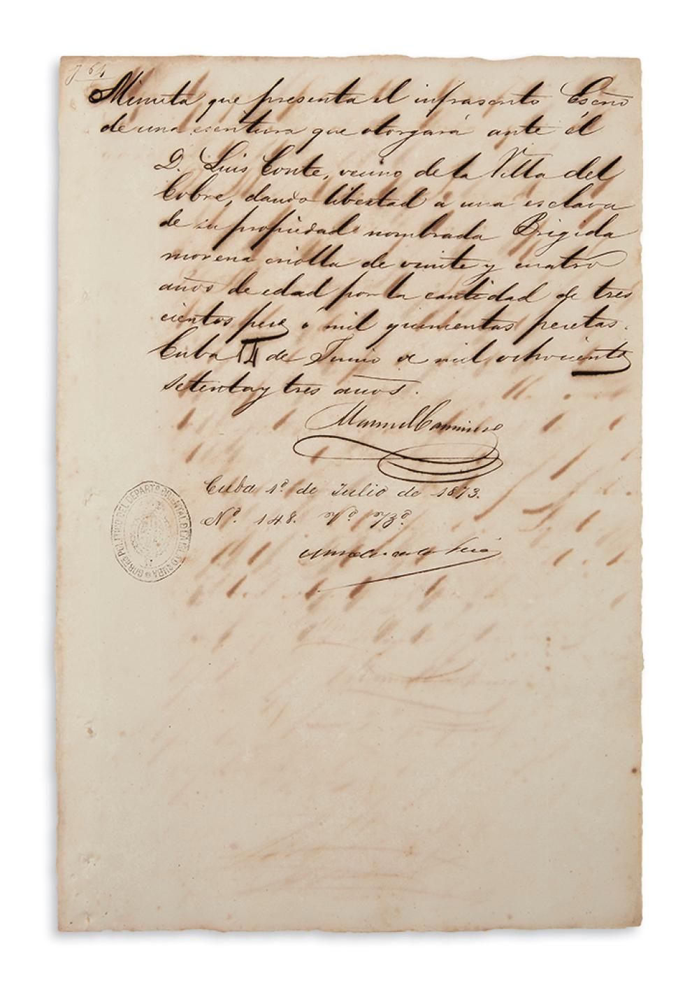 (SLAVERY AND ABOLITION--CUBA.) Group of 9 Cuban manumission documents.