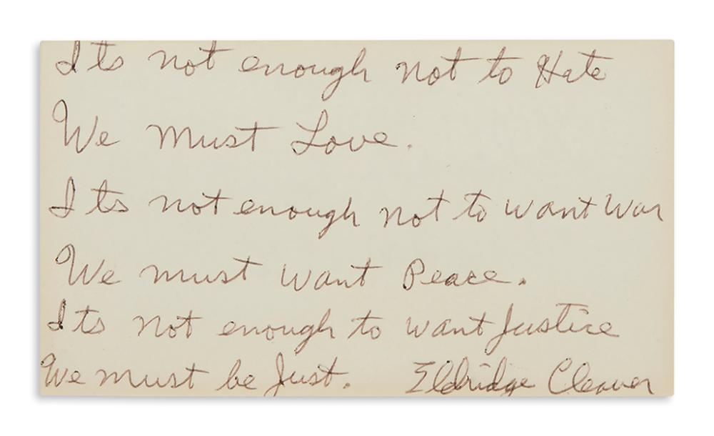 (BLACK PANTHERS.) Cleaver, Eldridge. A signed quotation written from prison.