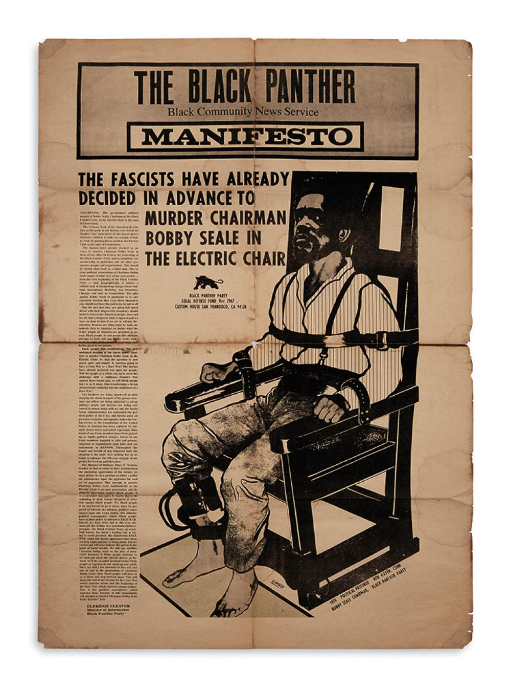 (BLACK PANTHERS.) Douglas, Emory; artist. The Black Panther Manifesto: