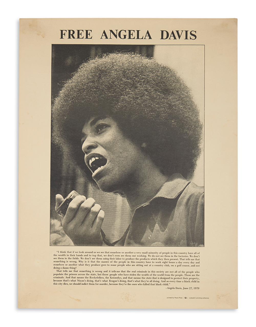 (BLACK PANTHERS.) Group of 3 Angela Davis items.
