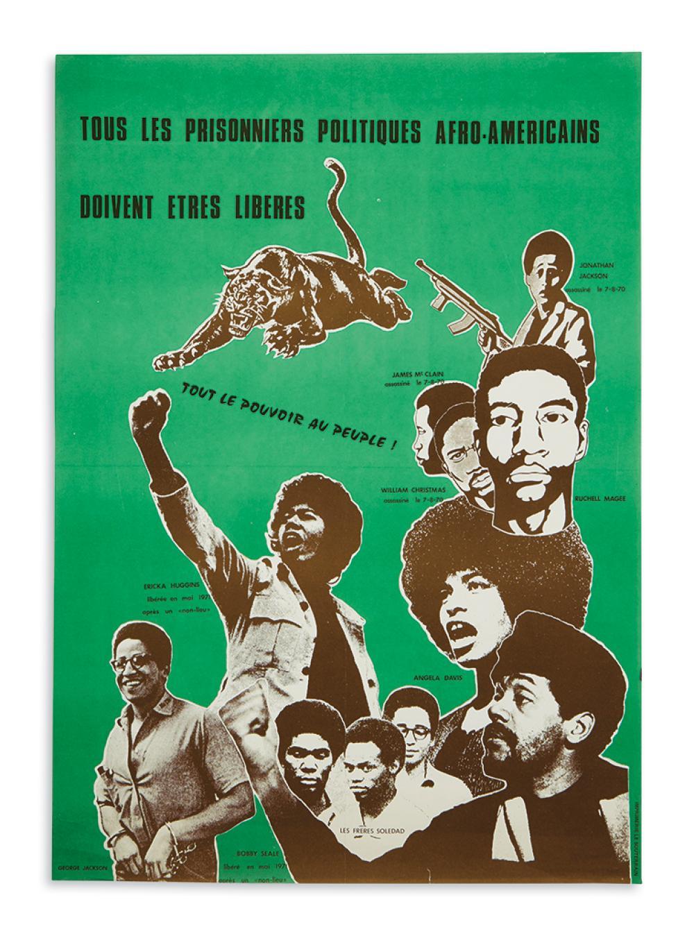 (BLACK PANTHERS.) Tous les Prisonniers Politiques Afro-Americains doivent etres Liberes. Tout le Pouvoir au Peuple!