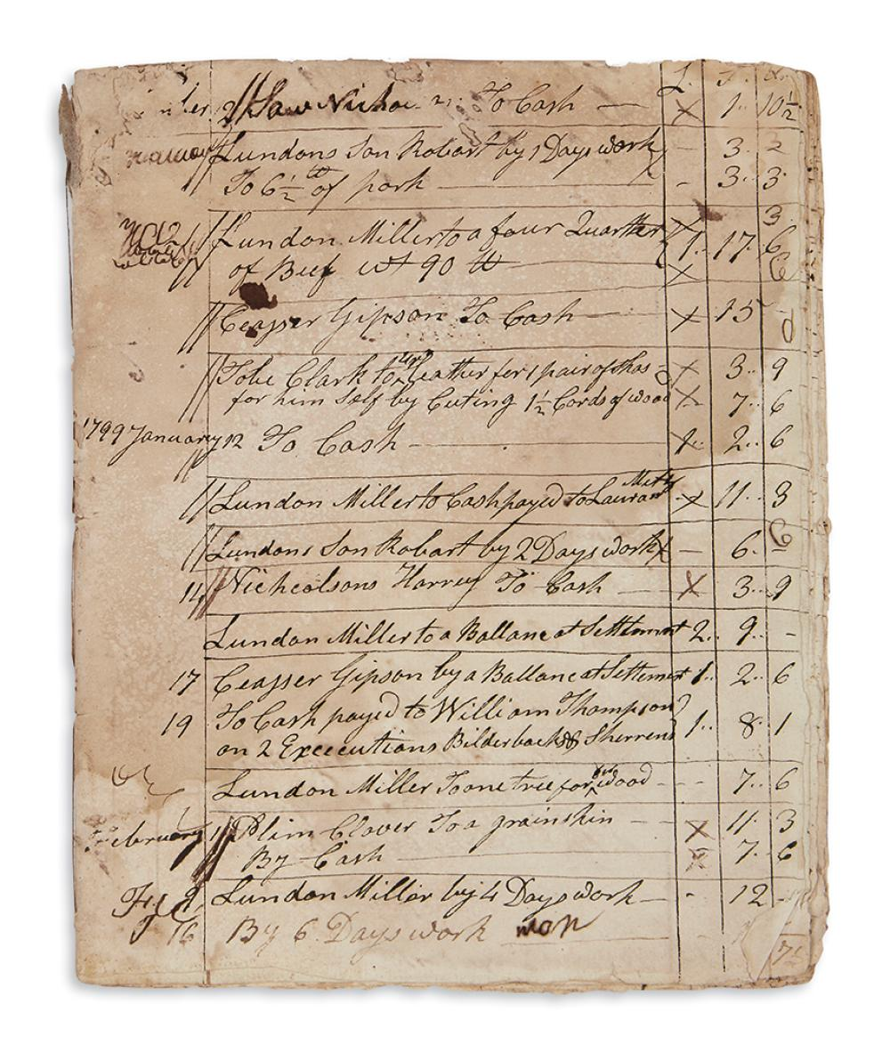 (BUSINESS.) Account book of a merchant in Salem, NJ with a largely African-American clientele.