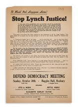 (CIVIL RIGHTS.) It Must Not Happen Here! Stop Lynch Justice!