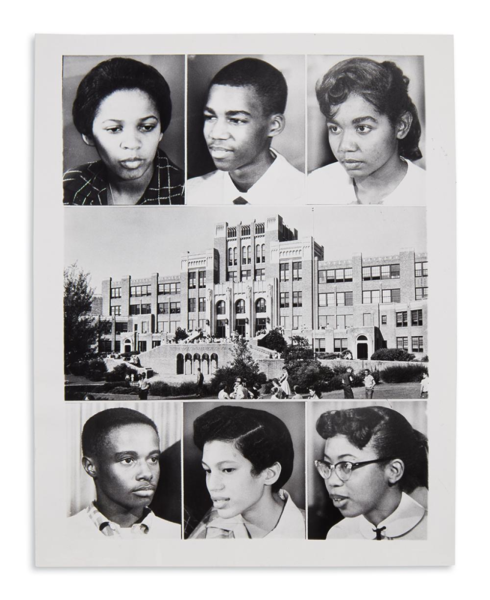 (CIVIL RIGHTS.) Group of 7 press photographs of the Little Rock school integration protests.