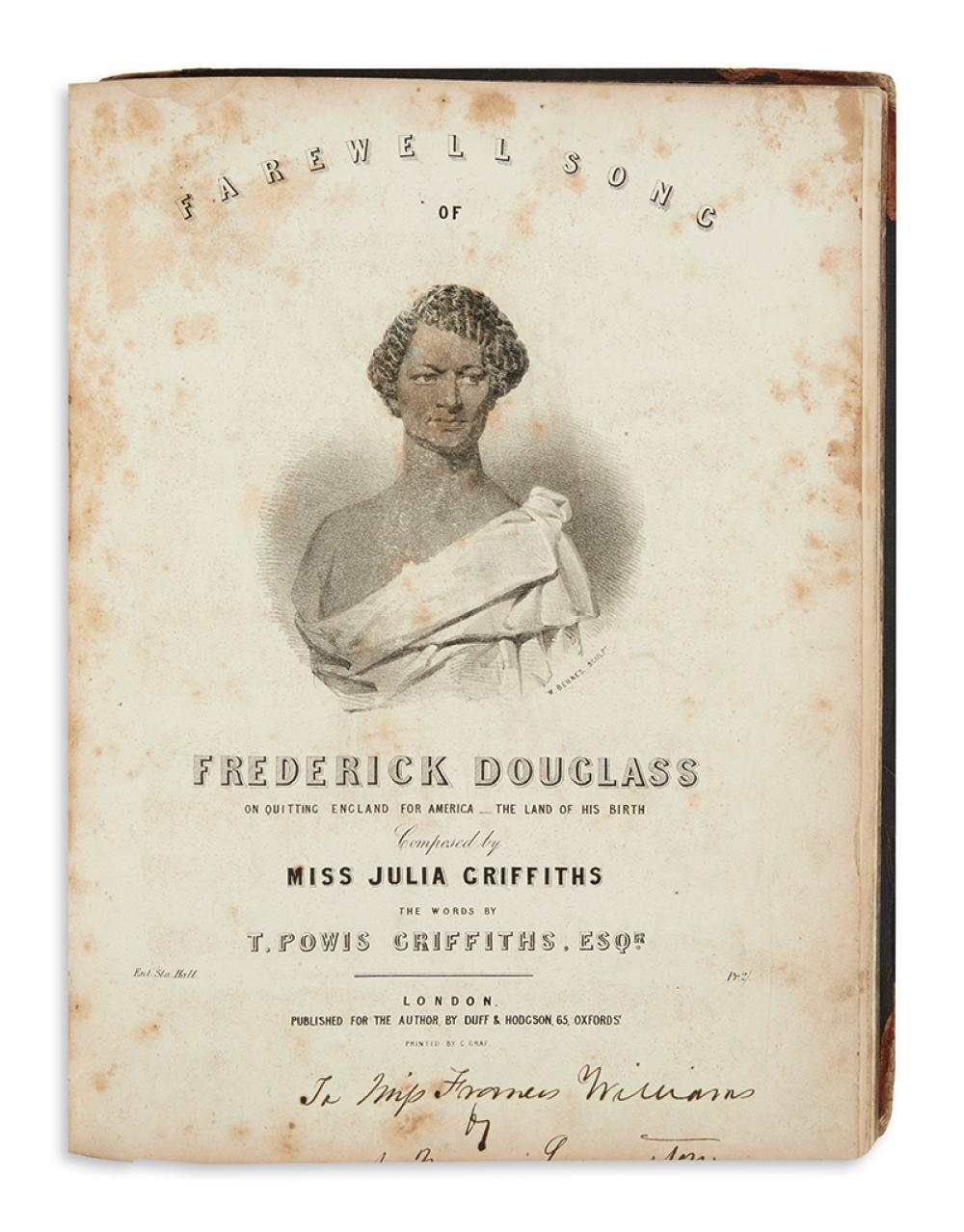 (DOUGLASS, FREDERICK.) Griffiths, Julia and T. Powis. Farewell Song of Frederick Douglass, on Quitting England for America