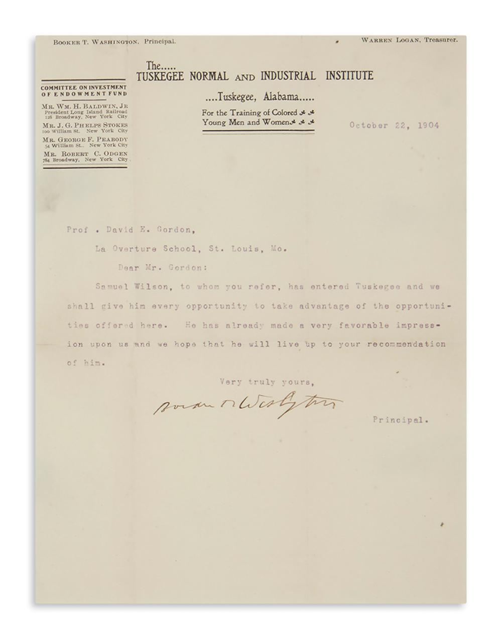 (EDUCATION.) Washington, Booker T. Letter to a fellow educator regarding a new student at the Tuskegee Institute.