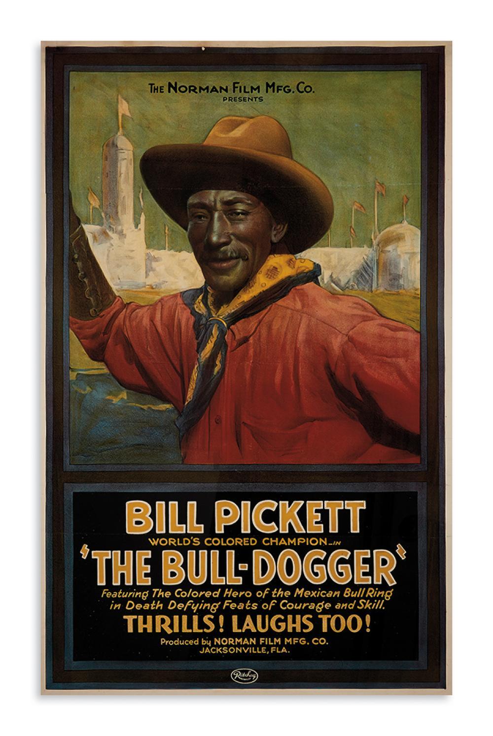 "(FILM.) Norman Film Manufacturing Company. Bill Pickett, World's Colored Champion, in ""The Bull-Dogger."""