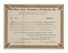 GARVEY, MARCUS. Promissory note issued by the Black Cross Navigation & Trading Co., signed by Garvey as president.