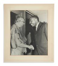 (GREGORY, DICK.) Group of 3 large-format photographs of Gregory--including his meeting with Eleanor Roosevelt.