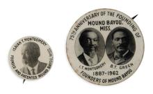 (HISTORY.) Pair of pins commemorating the 75th anniversary of Mound Bayou, Mississippi.