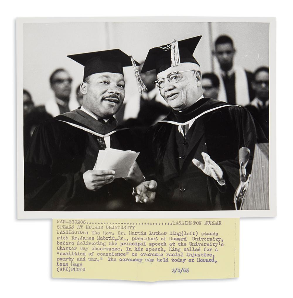 (KING, MARTIN LUTHER, JR.) Photograph of Dr. King at Howard University.