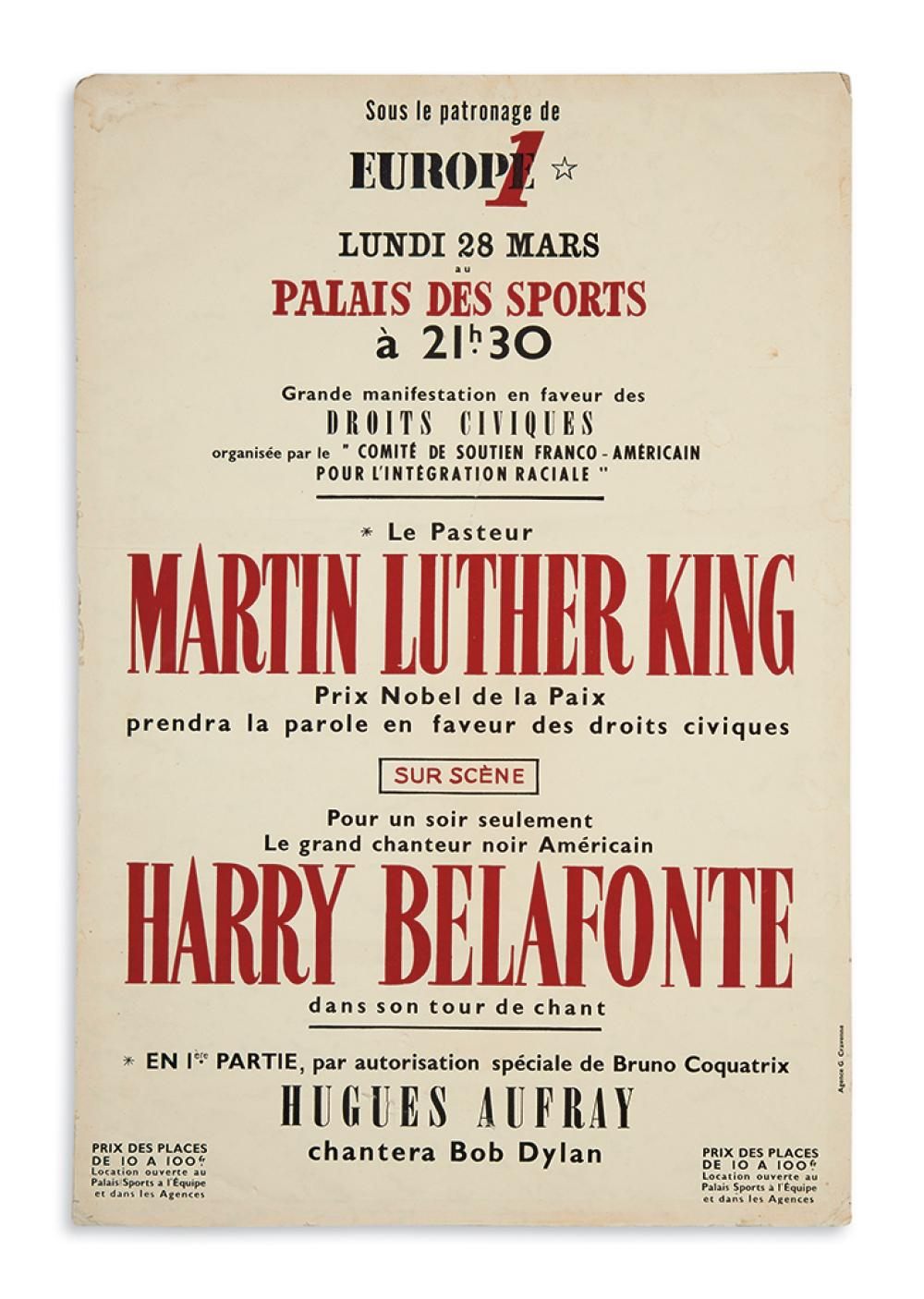(KING, MARTIN LUTHER, JR.) Another poster for the French appearance by Dr. King and Harry Belafonte.