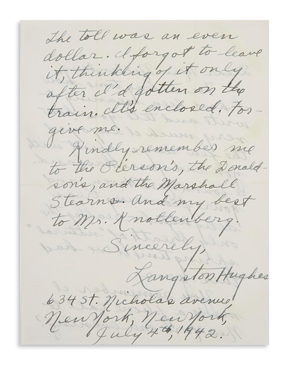 (LITERATURE.) Hughes, Langston. Letter to the wife of Yale's librarian, who had recently employed Hughes for a small project.