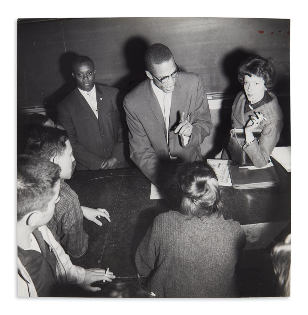 (MALCOLM X.) Malcolm X speaking with teachers and students at Queens College.