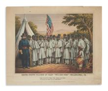 (MILITARY--CIVIL WAR.) Duval, P.S.; lithographer. United States Soldiers at Camp William Penn.