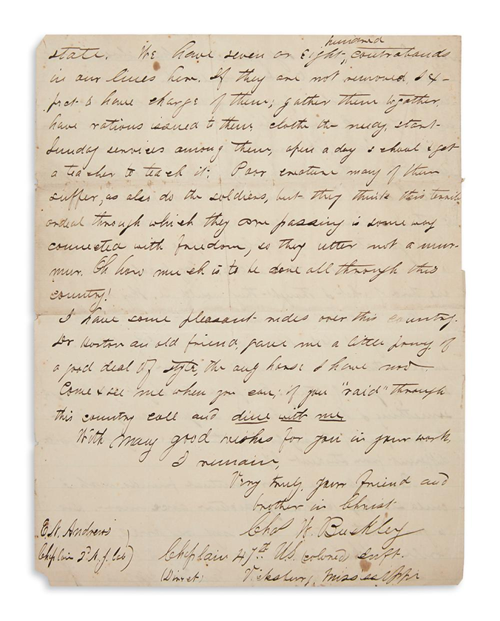 (MILITARY--CIVIL WAR.) Buckley, Charles Waldron. Letter by the white chaplain of the 47th U.S. Colored Infantry.