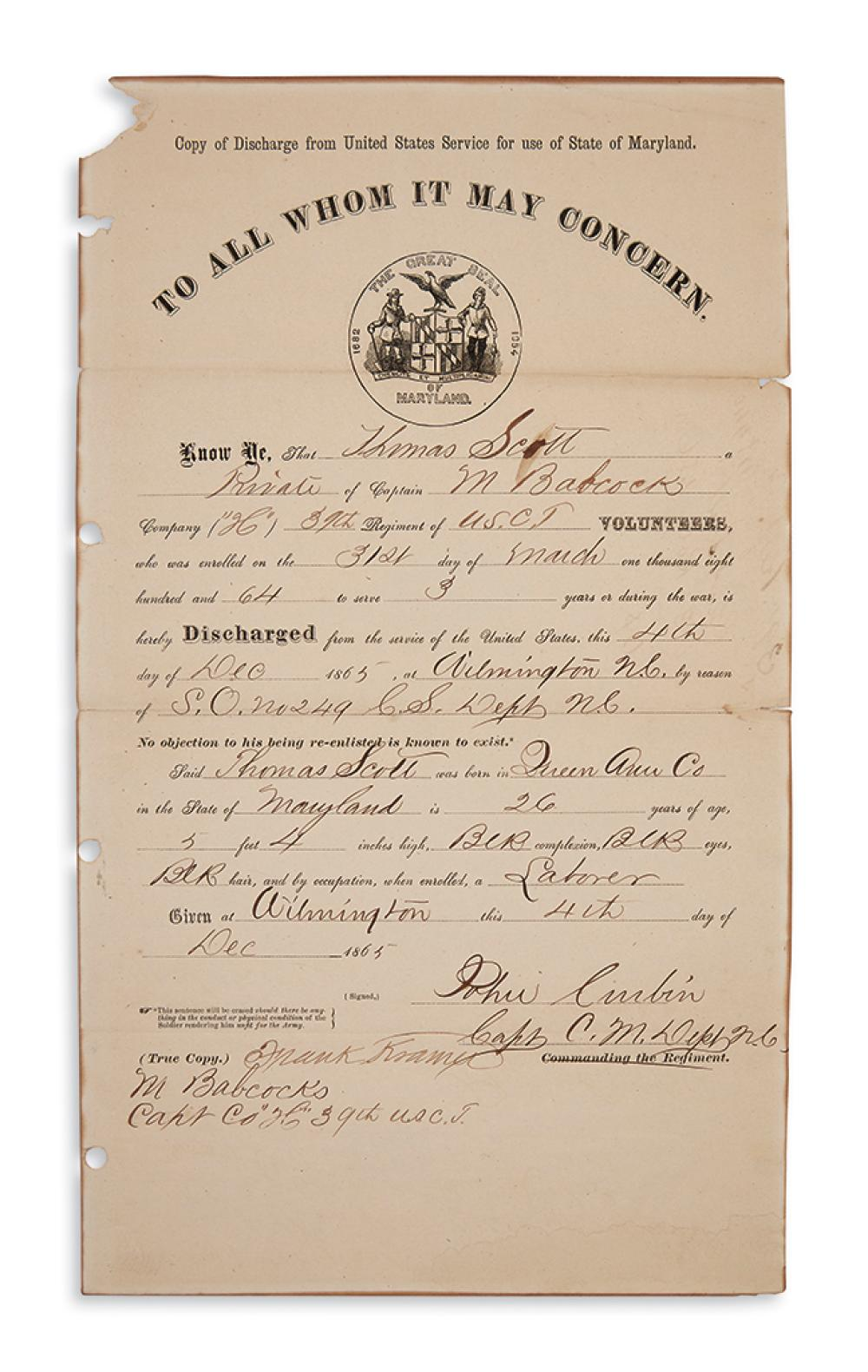 (MILITARY--CIVIL WAR.) Group of 5 documents relating to Maryland African-Americans in military service.